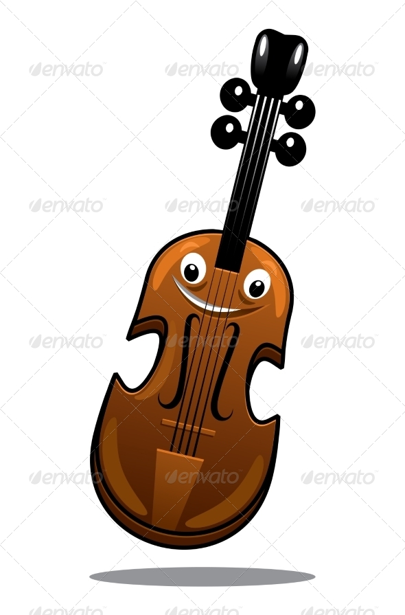 Happy Brown Cartoon Wooden Violin - Miscellaneous Characters