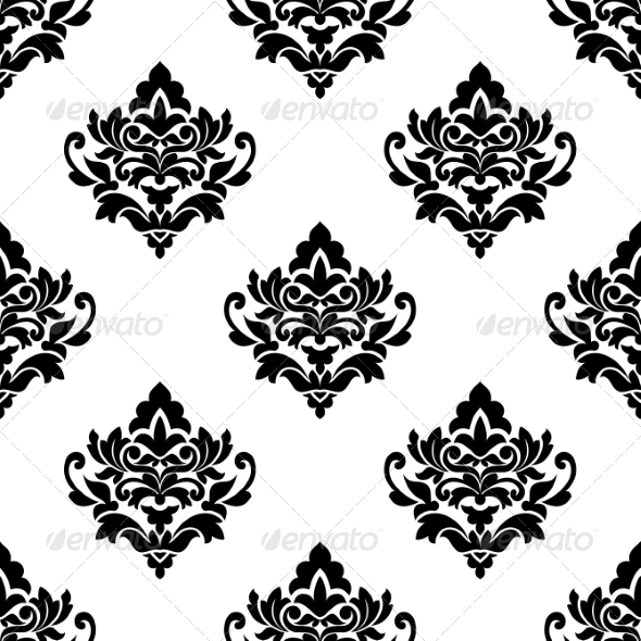 Black and White Repeat Floral Arabesque Pattern - Patterns Decorative