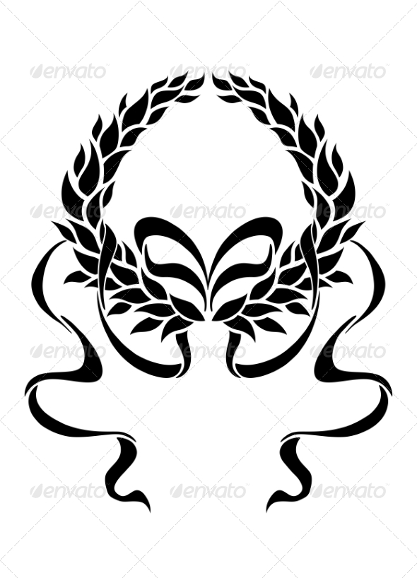 Foliate Laurel Wreath with Long Trailing Ribbons - Borders Decorative