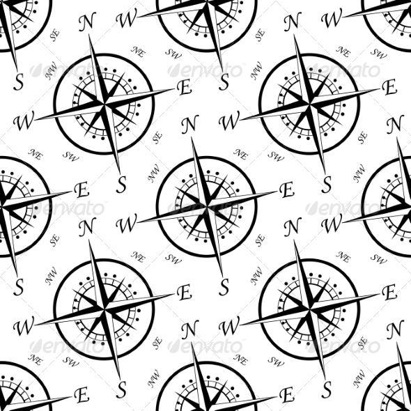 Vintage Compass Seamless Pattern - Travel Conceptual