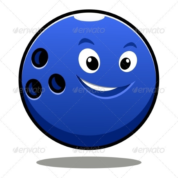 Colourful Blue Cartoon Bowling Ball - Miscellaneous Characters