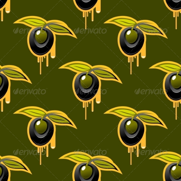 Repeat Background Seamless Pattern of Olives - Patterns Decorative