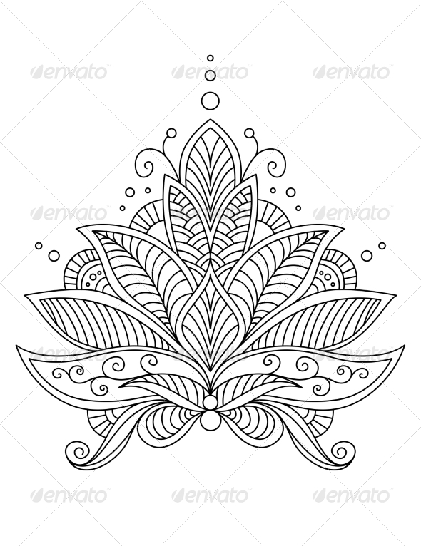 Intricate Floral Design Motif - Flourishes / Swirls Decorative