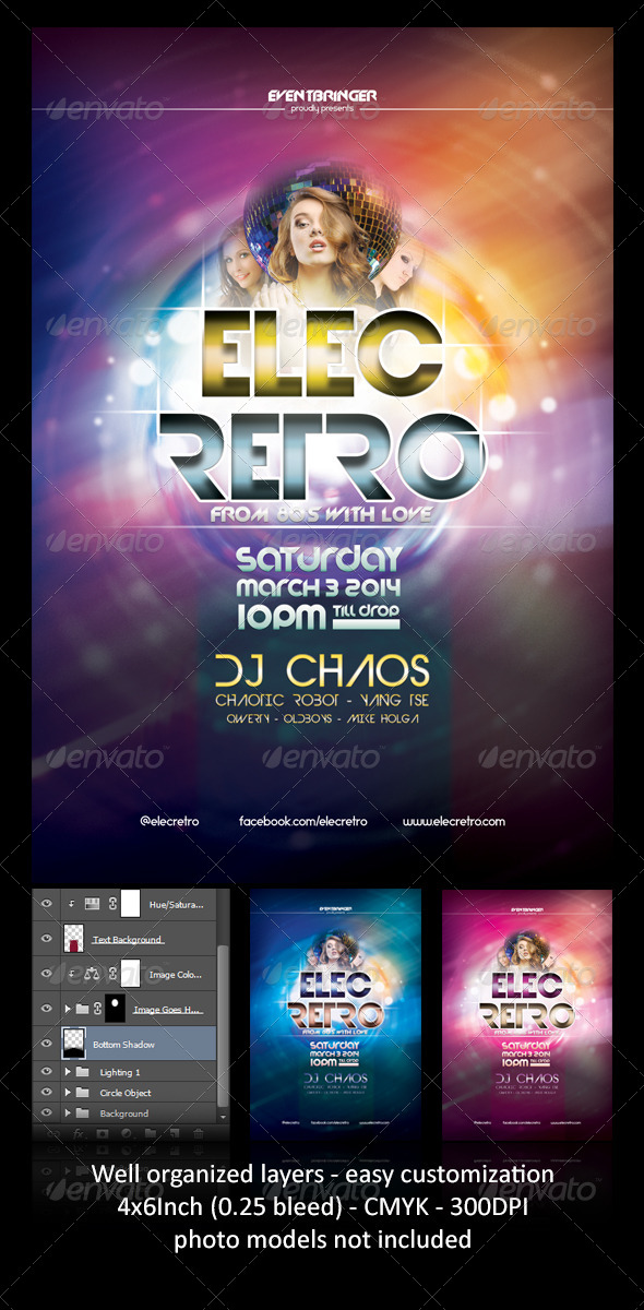 ElecRetro Party Flyer - Events Flyers