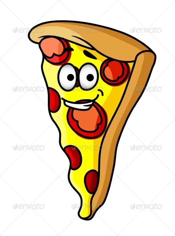 Slice of Happy Cheesy Pepperoni Pizza - Food Objects