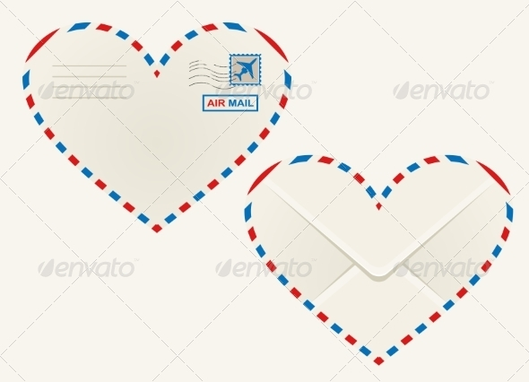 Heart Shaped Airmail Envelope - Man-made Objects Objects