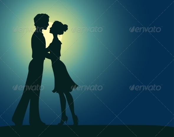 Silhouettes of Man and Woman - Valentines Seasons/Holidays