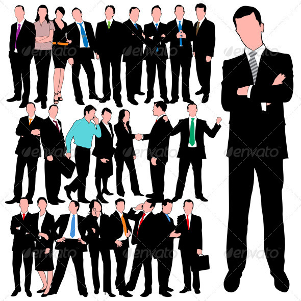 25 Business People Silhouettes Set - People Characters