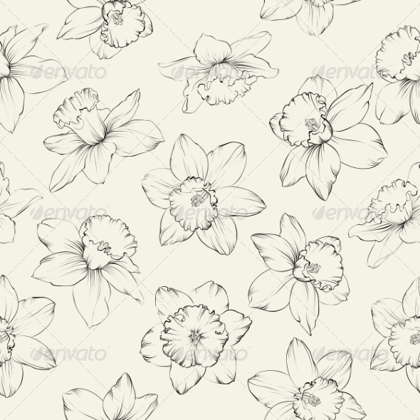 Seamless Pattern with Flowers Narcissus. - Flowers & Plants Nature
