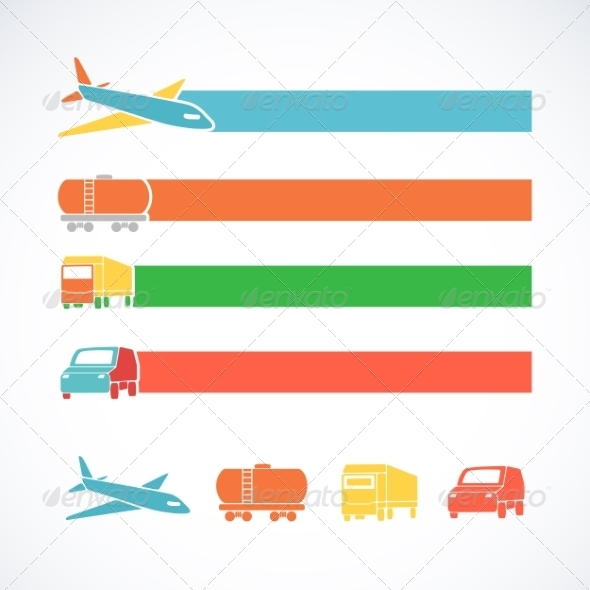 Transportation Ribbons Set - Travel Conceptual