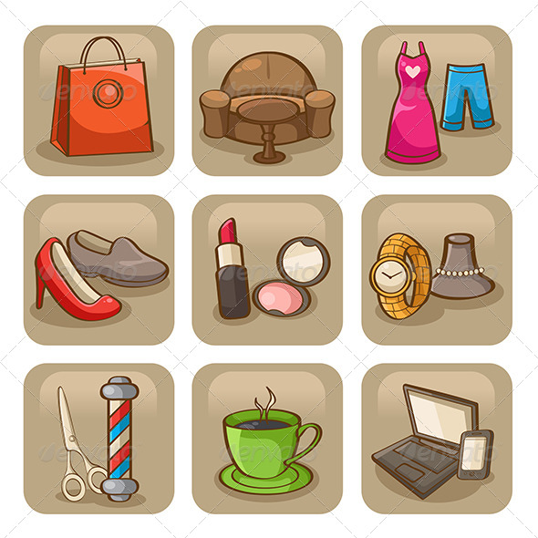 Fashion Icons - Objects Vectors