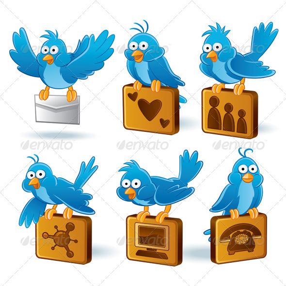 Social Media Network Bluebird Set - Communications Technology