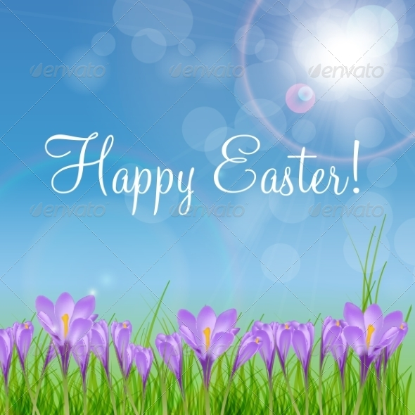 Happy Easter Card with Crocuses - Backgrounds Decorative