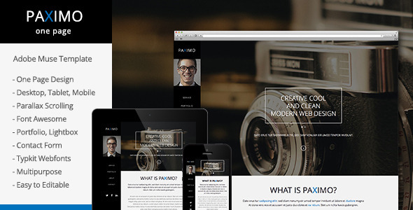 Paximo -Parallax Portfolio Muse Template - Personal Muse Templates