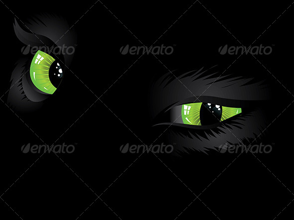 Green Cat Eyes in the Dark   - Animals Characters