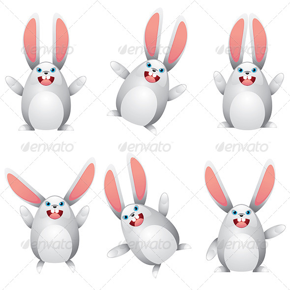 White Egg Bunny   - Animals Characters
