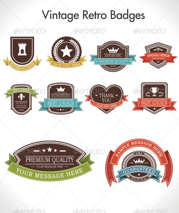 Vintage Retro Badges - Badges & Stickers Web Elements