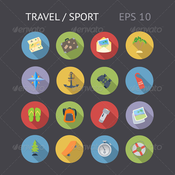 Flat Icons For Travel and Sport - Web Icons