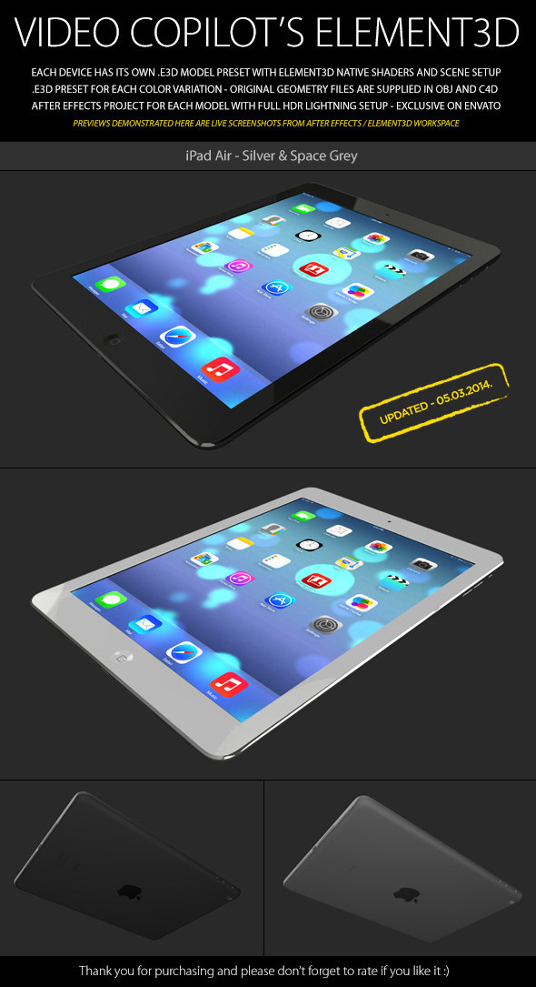 Element3D - iPad Air - 3DOcean Item for Sale