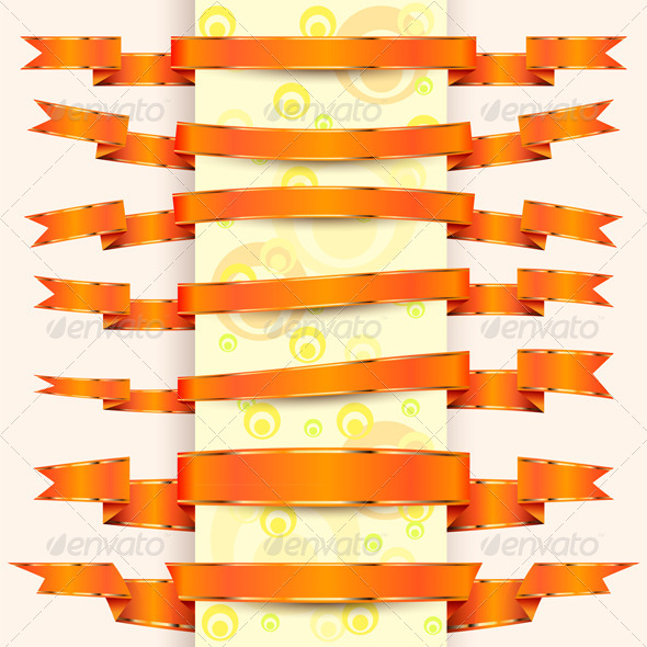 Collection of Orange Ribbons with Gold Stripes  - Decorative Vectors