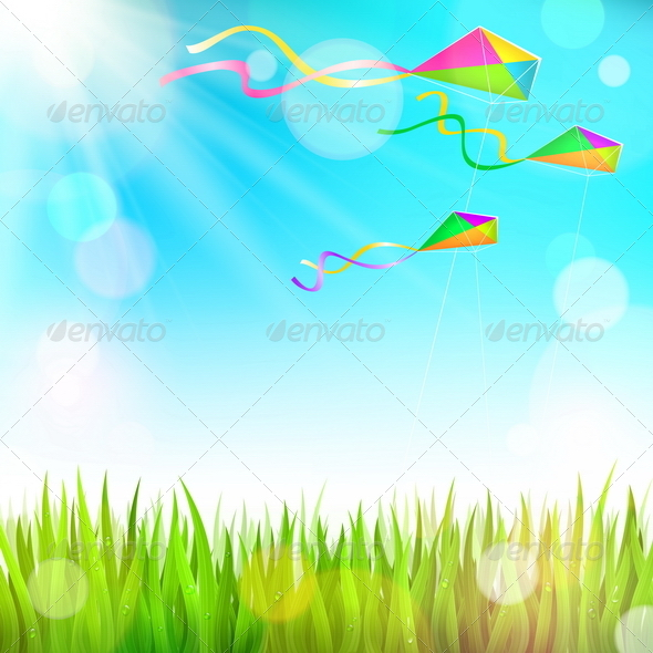 Summer Landscape and Colorful Kites - Sports/Activity Conceptual