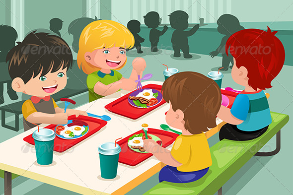 Elementary Students Eating Lunch in Cafeteria - People Characters