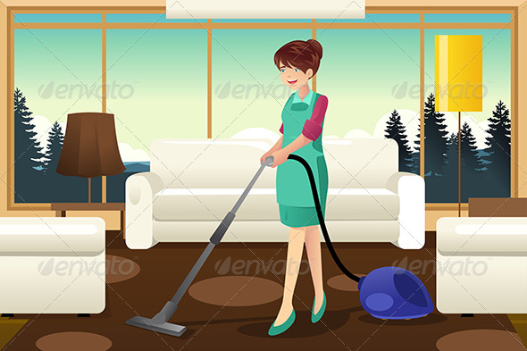Professional Maid Vacuuming Carpet - People Characters
