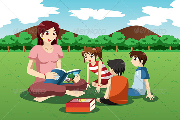 Teacher Reading Book to Kids - People Characters