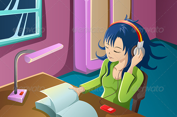 Girl Reading a Book While Listening to Music - People Characters
