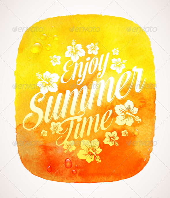 Summer Time Greeting with Tropical Flowers - Travel Conceptual