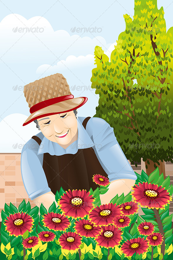 Senior Woman Gardening - People Characters