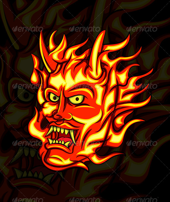 Flame Oni - Tattoos Vectors