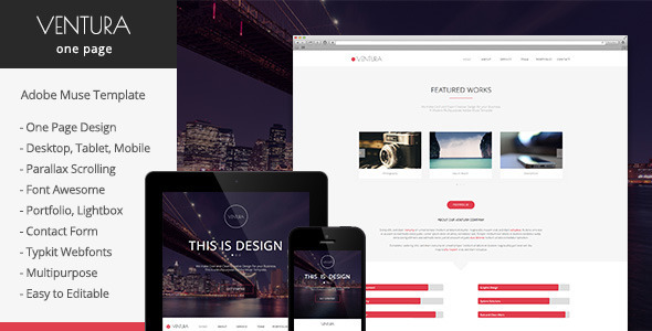 Ventura - Parallax One Page Muse Template - Creative Muse Templates