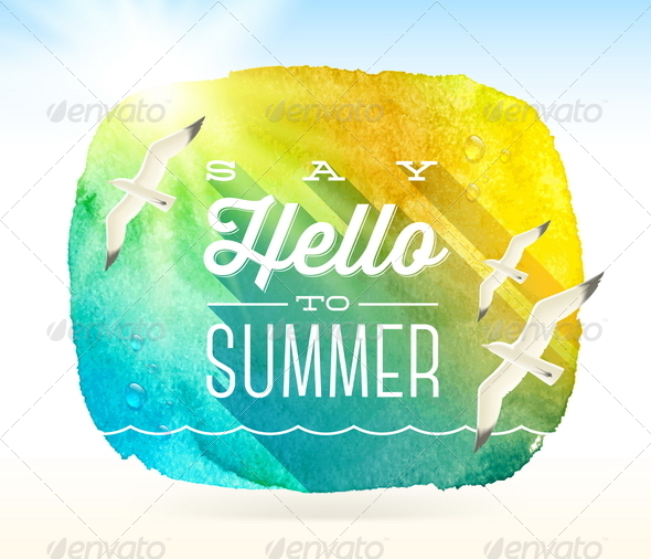 Summer Greeting with Flying Seagulls - Travel Conceptual