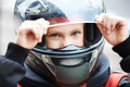 Portrait of a young racer in helmet - PhotoDune Item for Sale