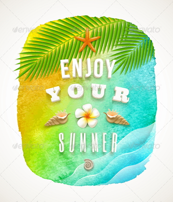 Watercolor Banner with Summer Greeting - Travel Conceptual