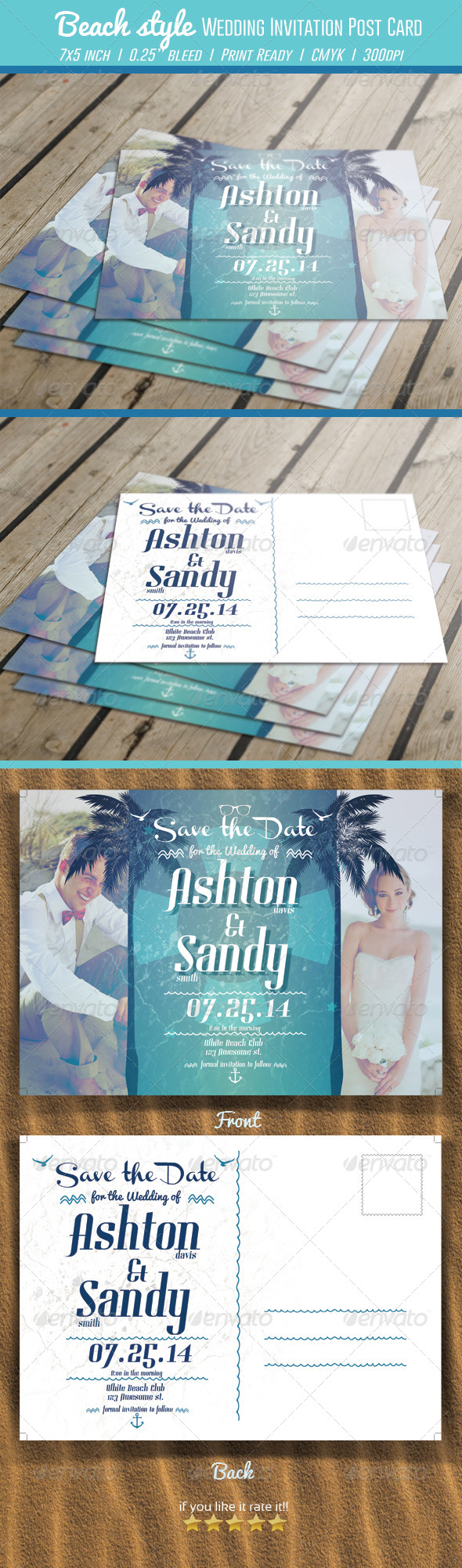 Beach Style Wedding Invitation Post Card - Weddings Cards & Invites