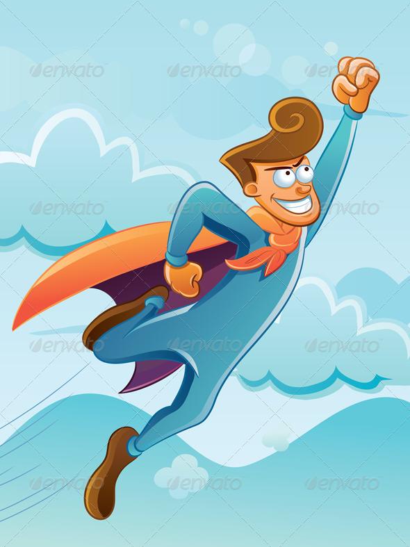 Flying Super Hero - Characters Vectors