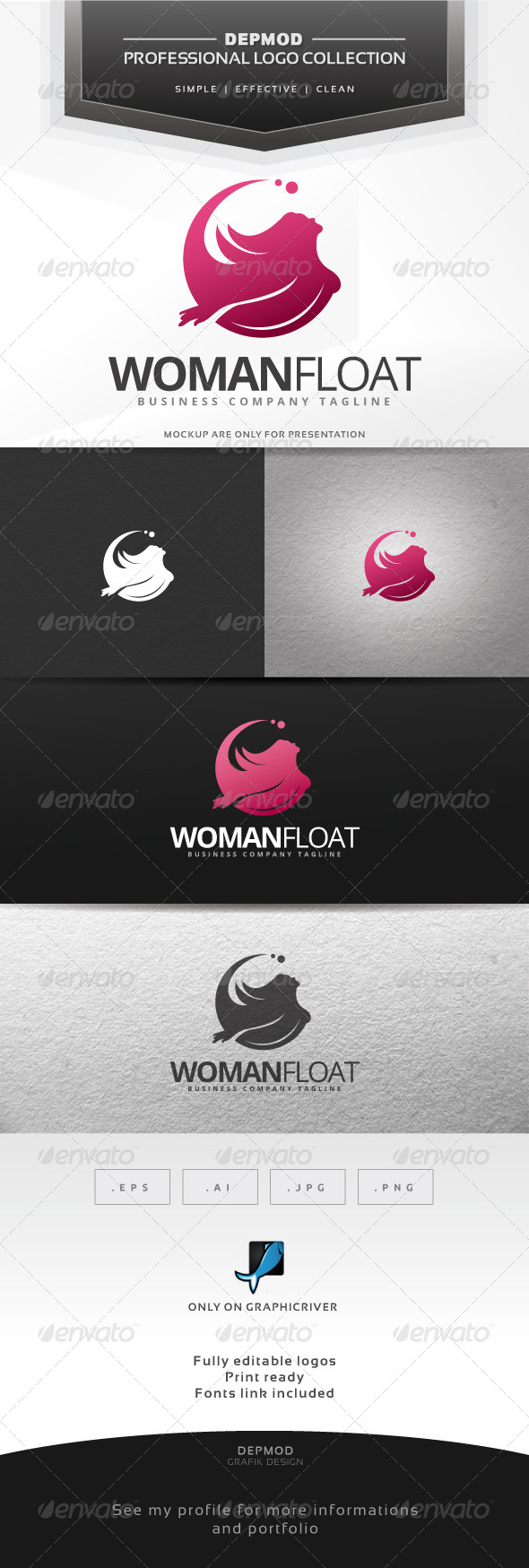 Woman Float Logo - Humans Logo Templates