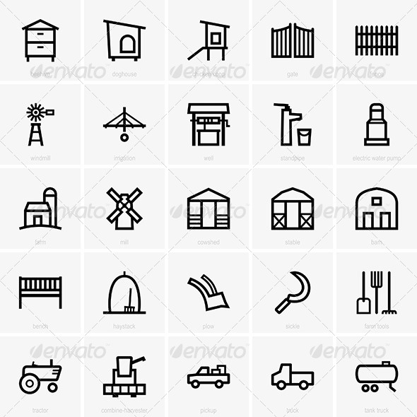 Farm Icons - Decorative Symbols Decorative