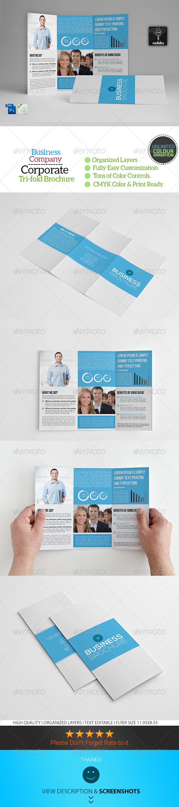 A4 Trifold Business Brochure Template Vol04 - Corporate Brochures