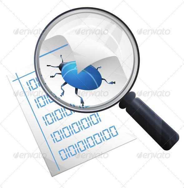 Locate Bug - Illustration - Technology Conceptual