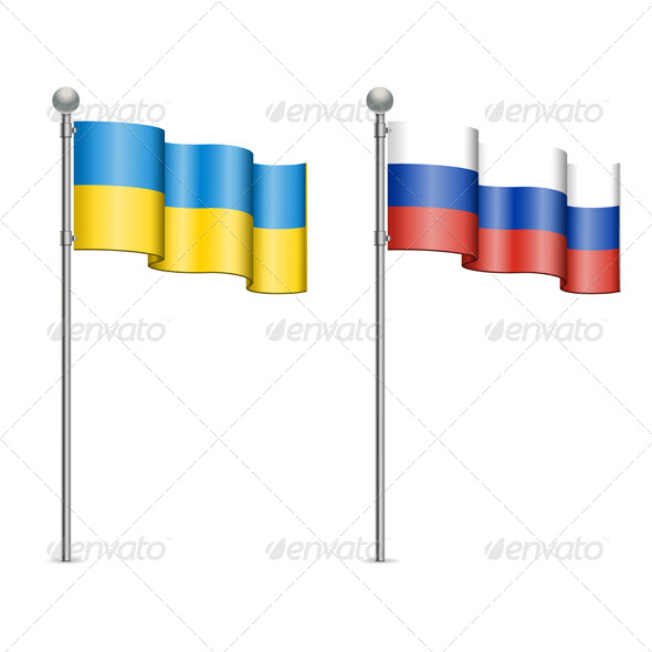 Flags of Ukraine and Russia - Man-made Objects Objects