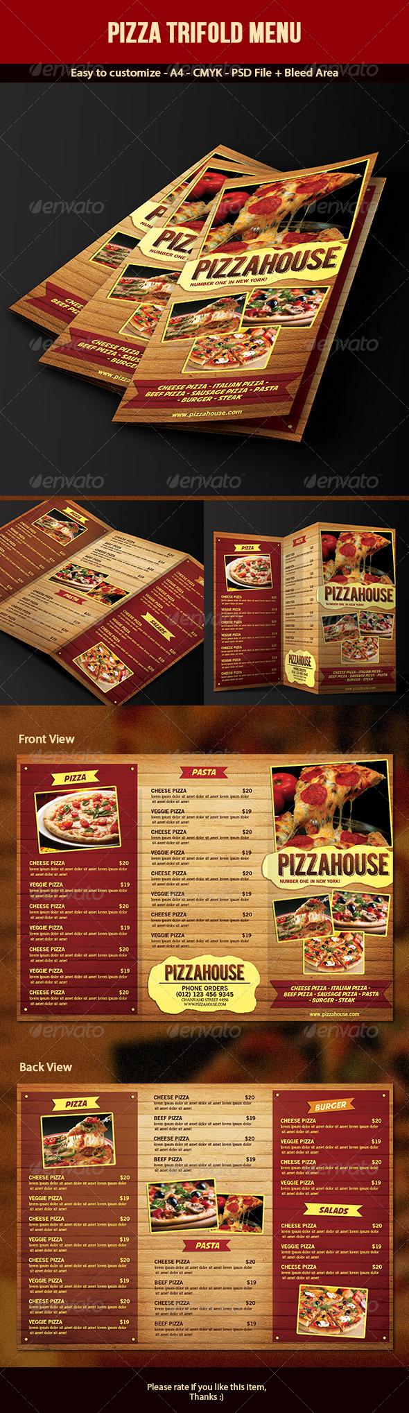 Trifold Pizza Menu - Food Menus Print Templates