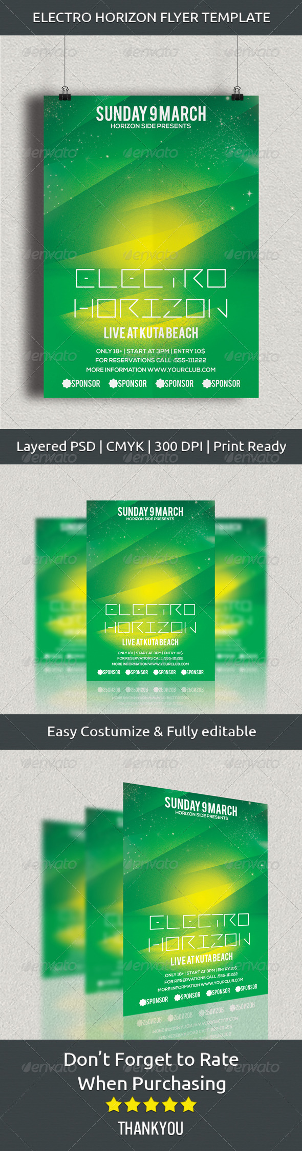 Electro Horizon Flyer Template - Clubs & Parties Events