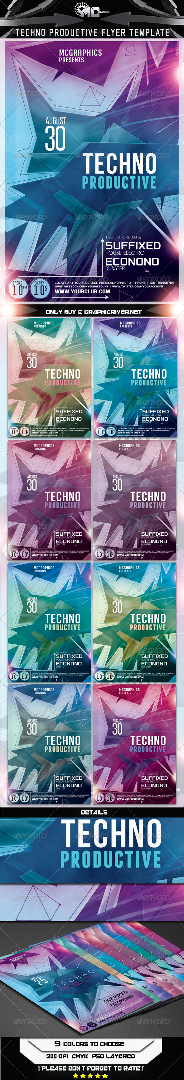 Techno Productive Flyer Template - Flyers Print Templates