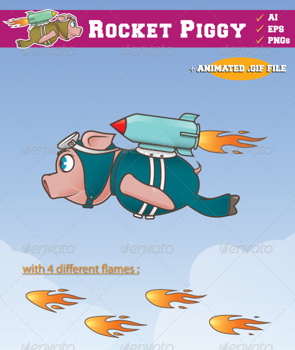 Rocket Piggy Flying - Sprites Game Assets