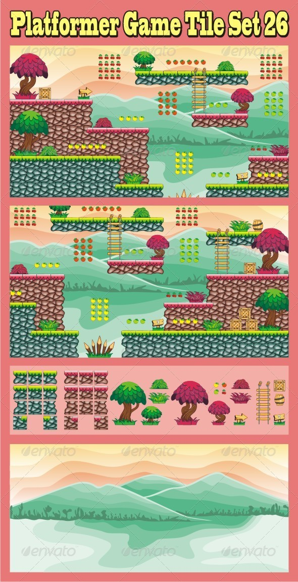 Platformer Game Tile Set 26 - Tilesets Game Assets