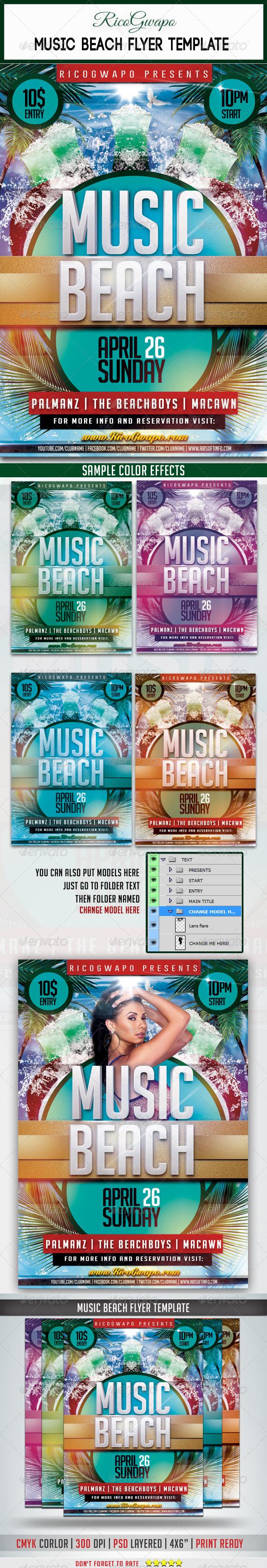 Music Beach Flyer Template - Flyers Print Templates