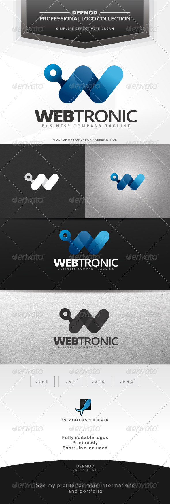 Webtronic Logo - Letters Logo Templates